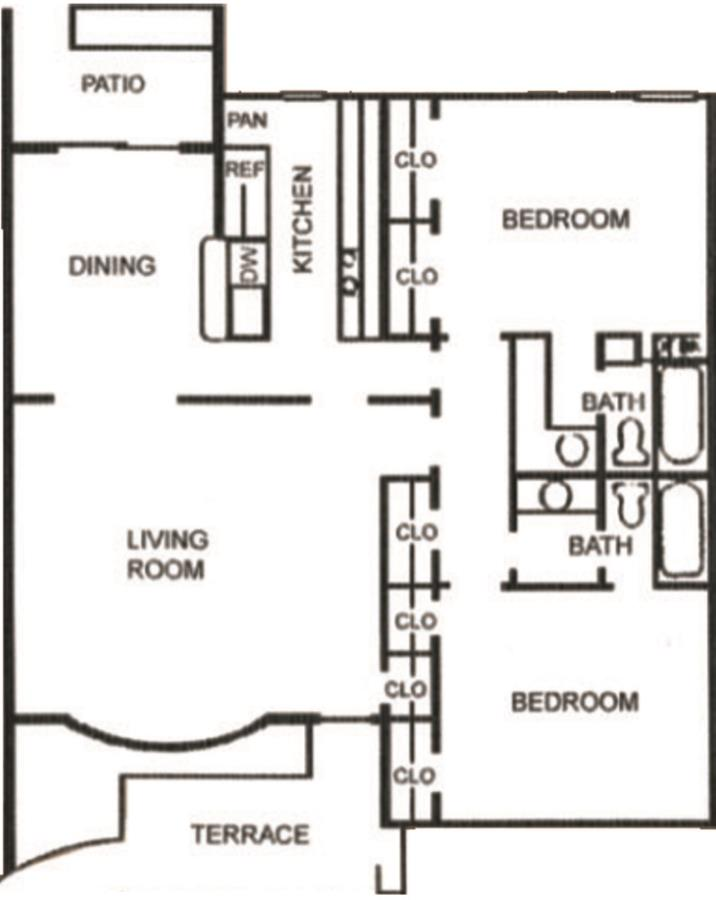 1,031 sq. ft. B-3 floor plan