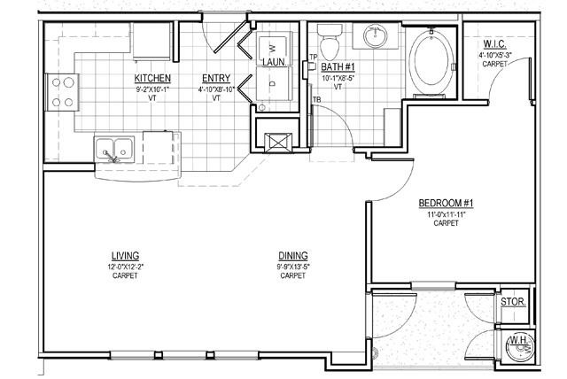 733 sq. ft. A2/30% floor plan