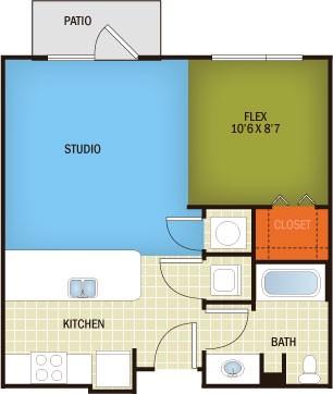 572 sq. ft. Allandale - S1/80% floor plan