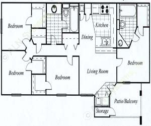 1,350 sq. ft. Sycamore/60 floor plan