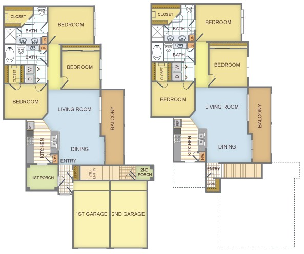1,385 sq. ft. to 1,462 sq. ft. F/Breckenridge floor plan