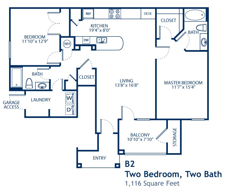 1,116 sq. ft. B2-GAR floor plan