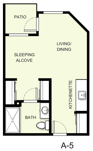388 sq. ft. A5 floor plan