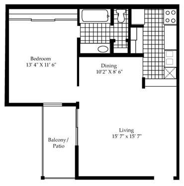 651 sq. ft. A3/A4 floor plan