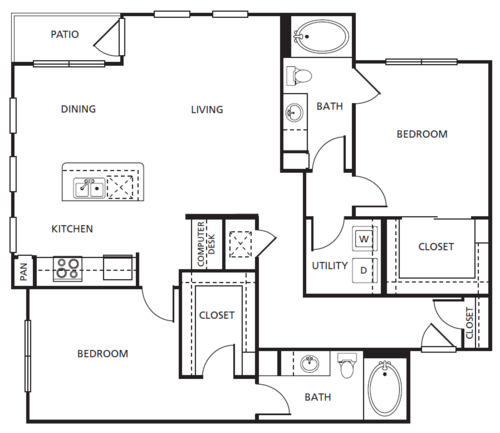 1,226 sq. ft. D1 floor plan