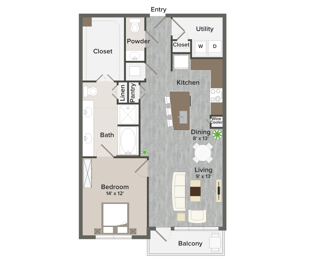 1,000 sq. ft. Leman-A9 floor plan