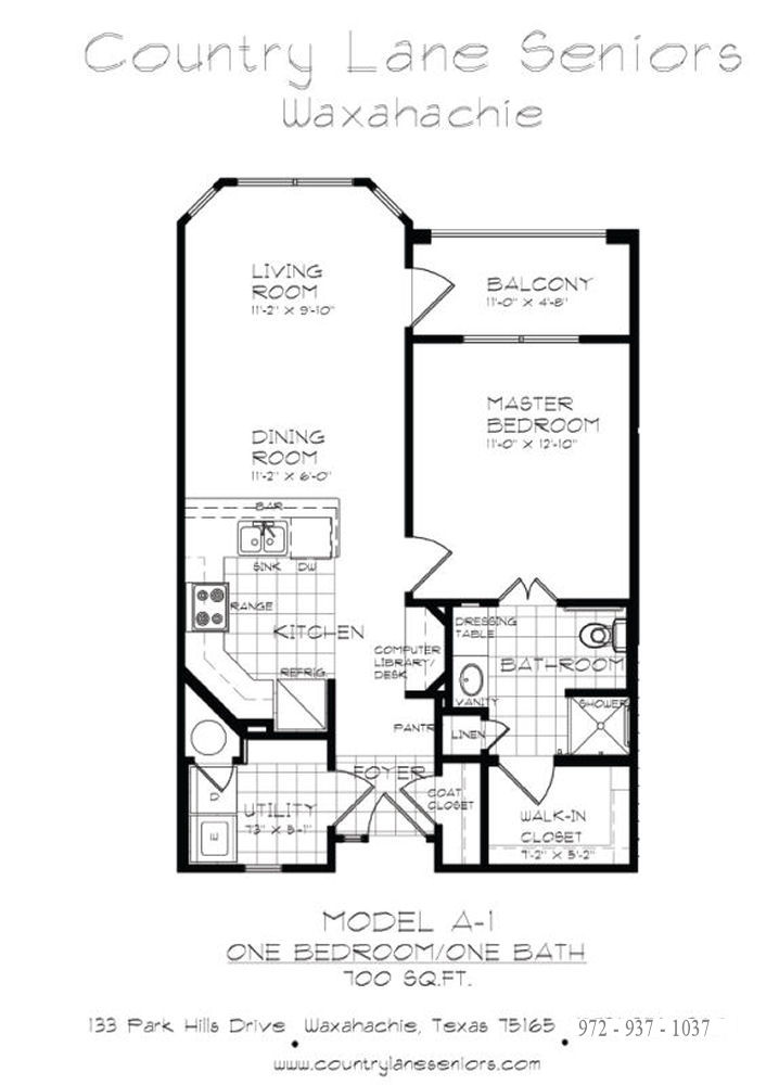 700 sq. ft. A1 30% floor plan