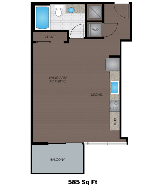 585 sq. ft. to 617 sq. ft. C/C2 floor plan