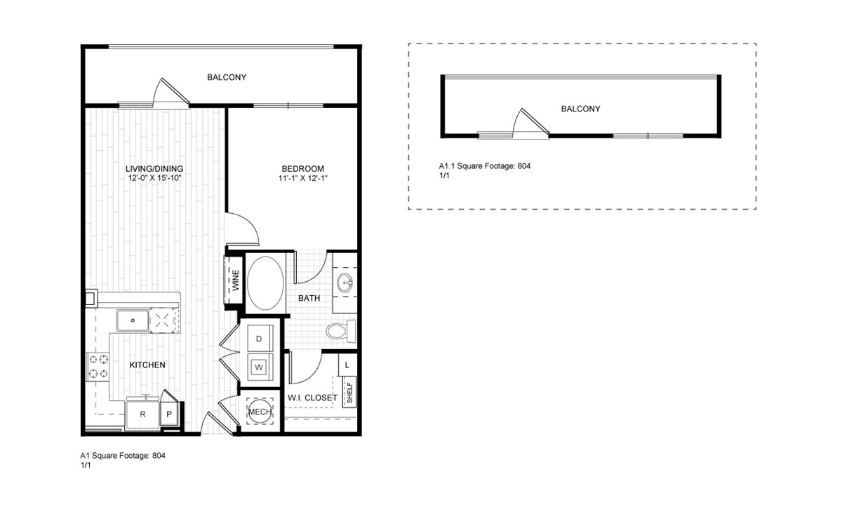 804 sq. ft. A1 floor plan
