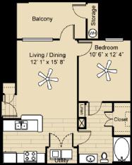 673 sq. ft. Driftwood floor plan