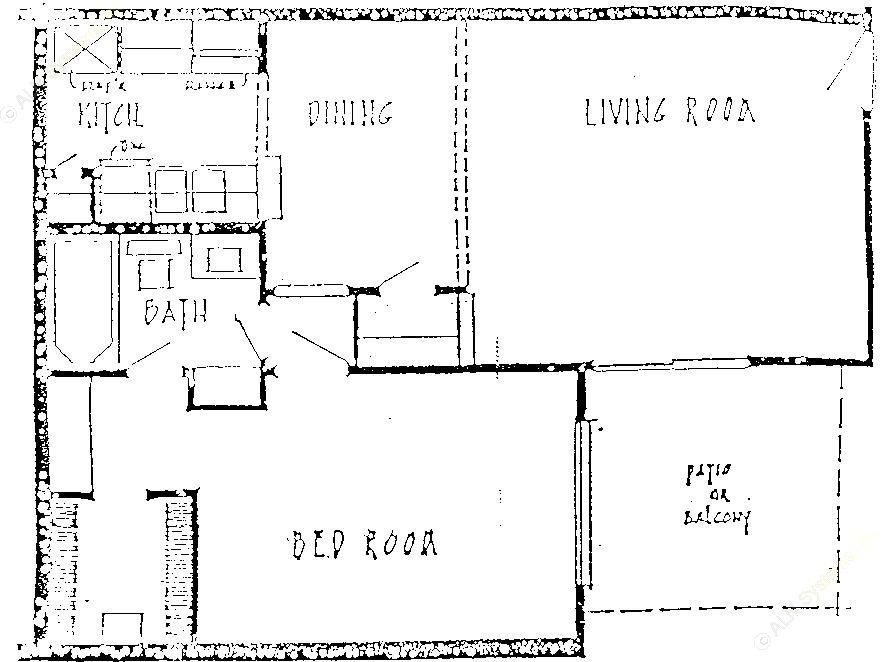 664 sq. ft. A1 floor plan