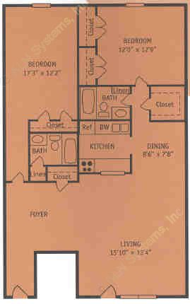 1,260 sq. ft. X floor plan