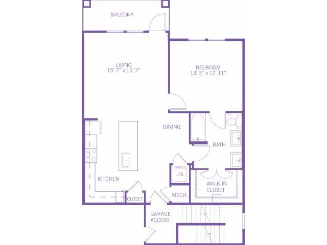 1,003 sq. ft. A4G floor plan