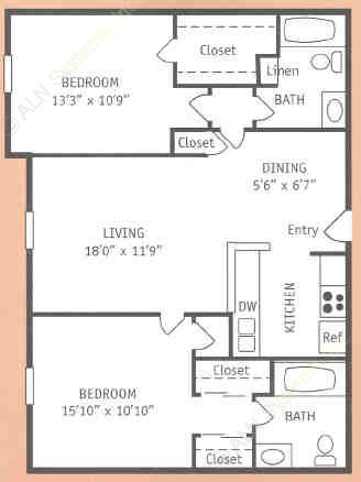 1,187 sq. ft. V floor plan