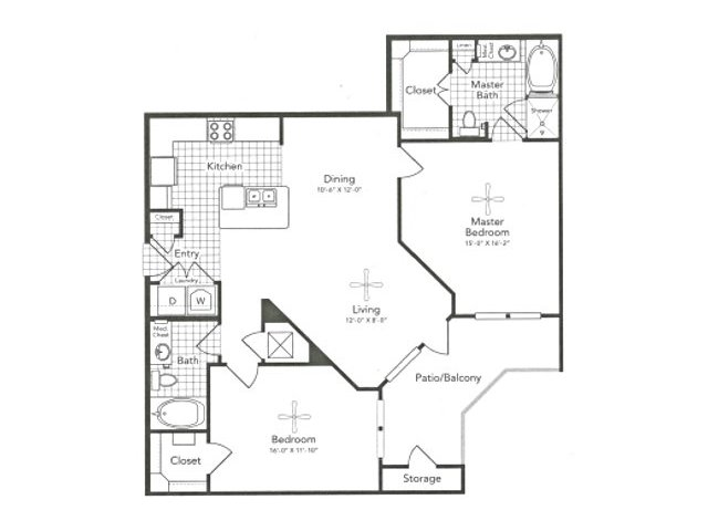 1,208 sq. ft. B3 West floor plan