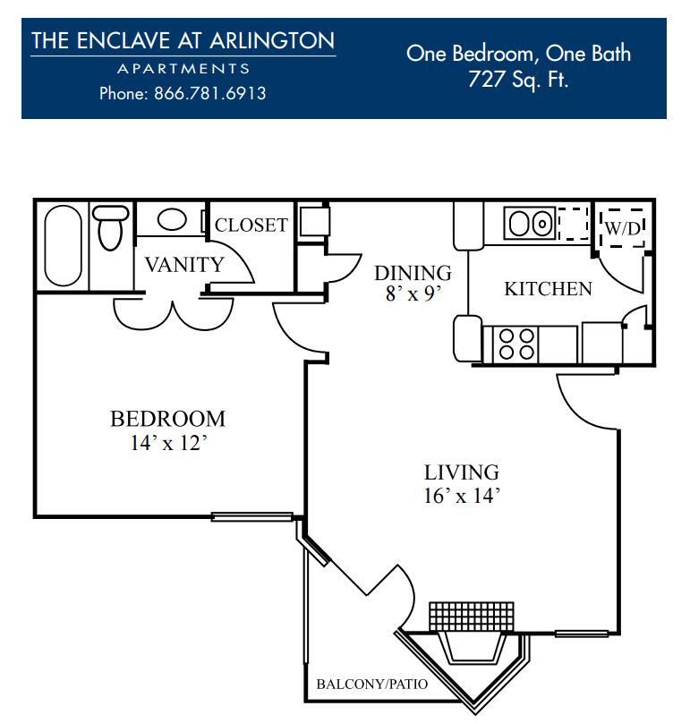 727 sq. ft. D floor plan