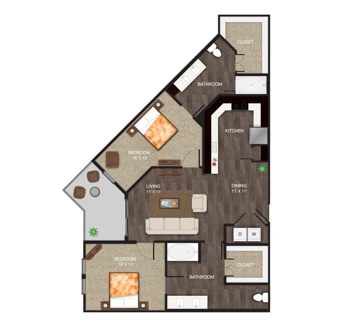 1,185 sq. ft. B-6 floor plan