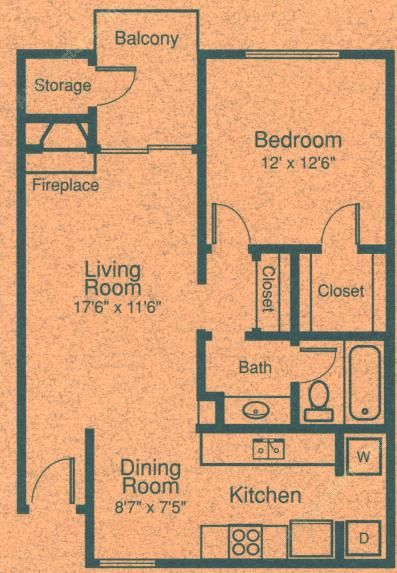 719 sq. ft. A2 floor plan