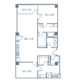 1,418 sq. ft. B5 floor plan