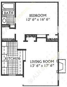 665 sq. ft. B floor plan