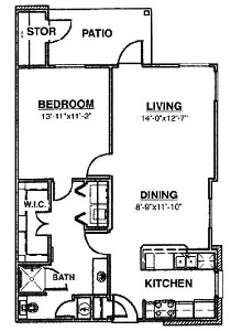 805 sq. ft. Ph I 60% floor plan