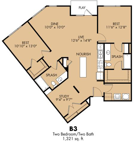 1,321 sq. ft. B3x floor plan