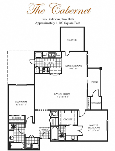 1,100 sq. ft. Cabernet floor plan