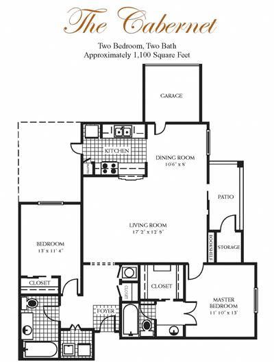 1,100 sq. ft. Cabernet floor plan