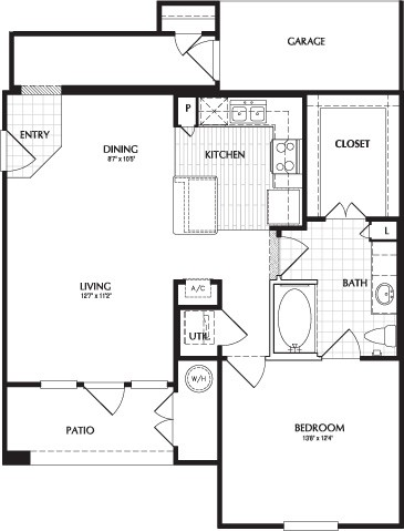 855 sq. ft. FULTON/G floor plan