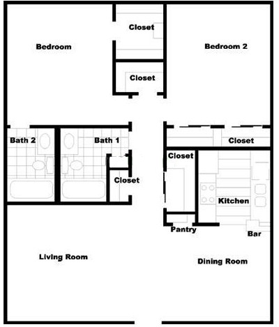 1,047 sq. ft. floor plan
