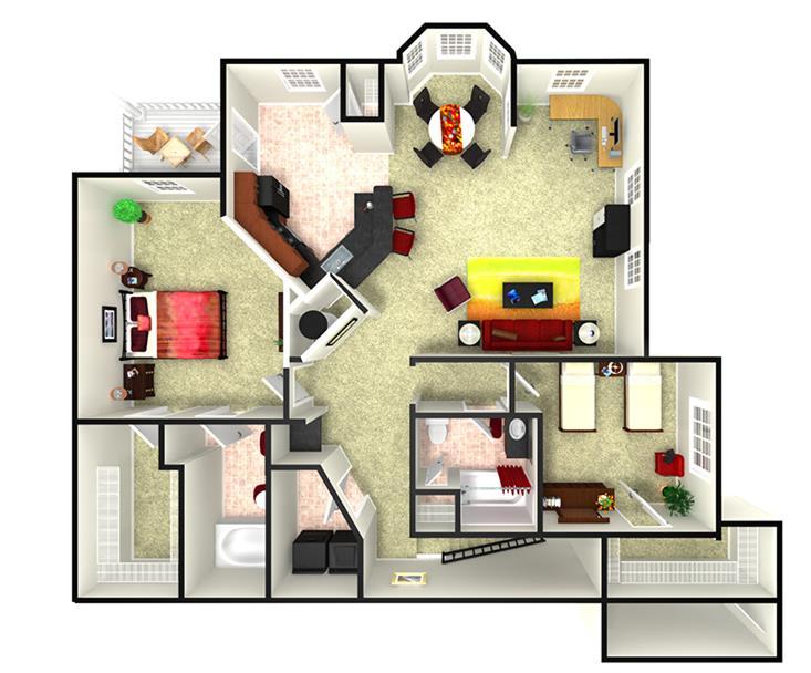 1,411 sq. ft. B2U floor plan