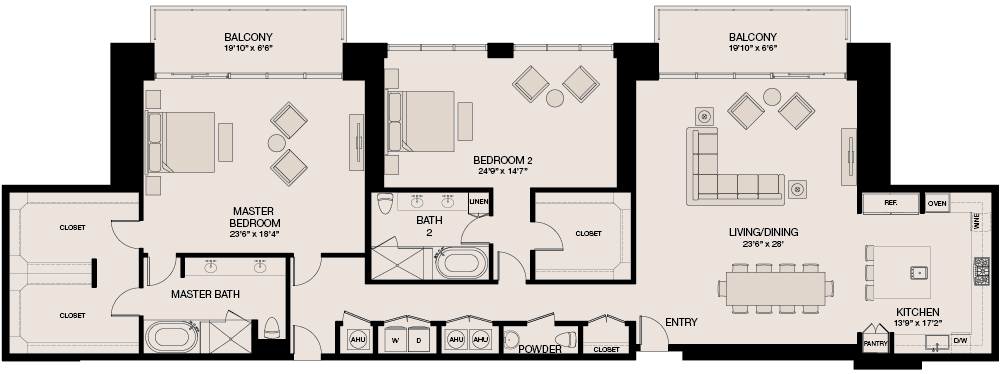 2,933 sq. ft. Penthouse floor plan