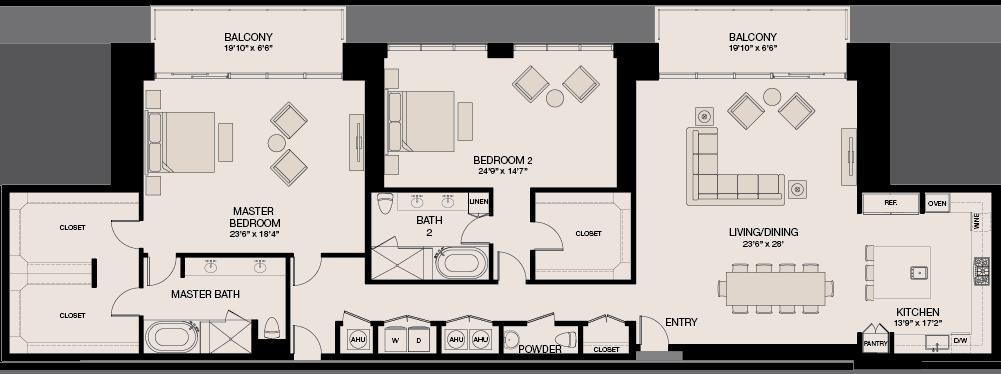 2,933 sq. ft. Penthouse floor plan