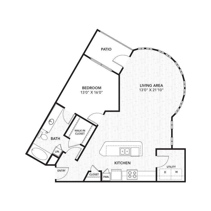 988 sq. ft. A6 floor plan