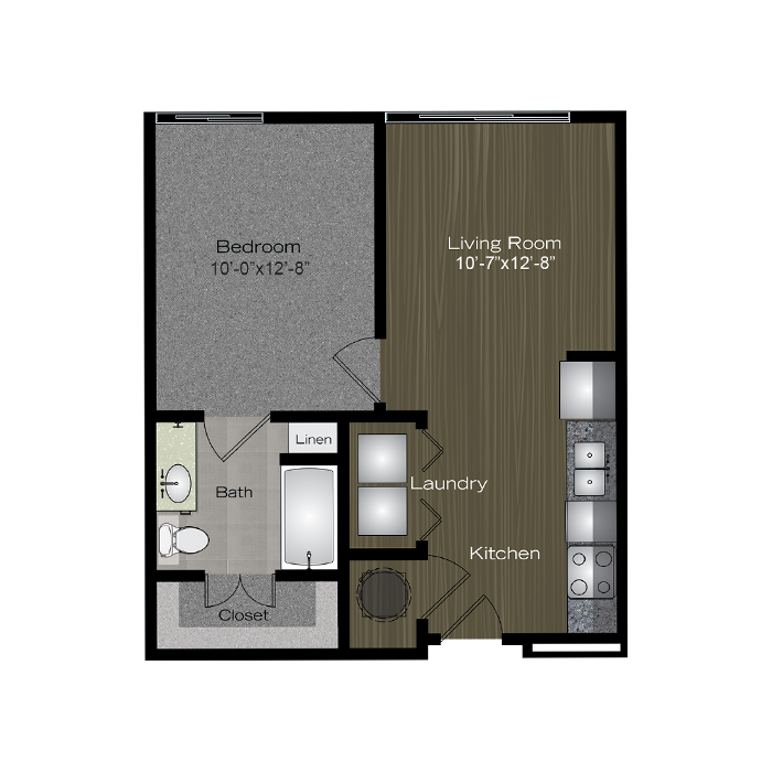 545 sq. ft. Green Belt floor plan
