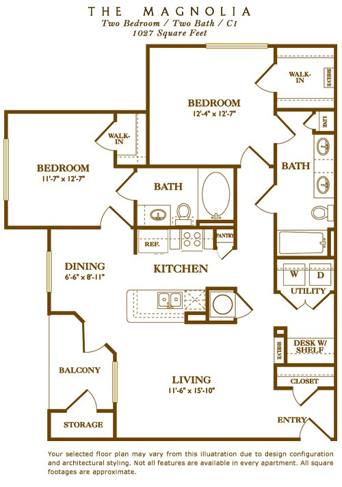 1,027 sq. ft. Magnolia floor plan