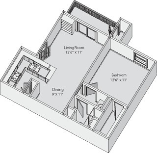 545 sq. ft. Carlton floor plan