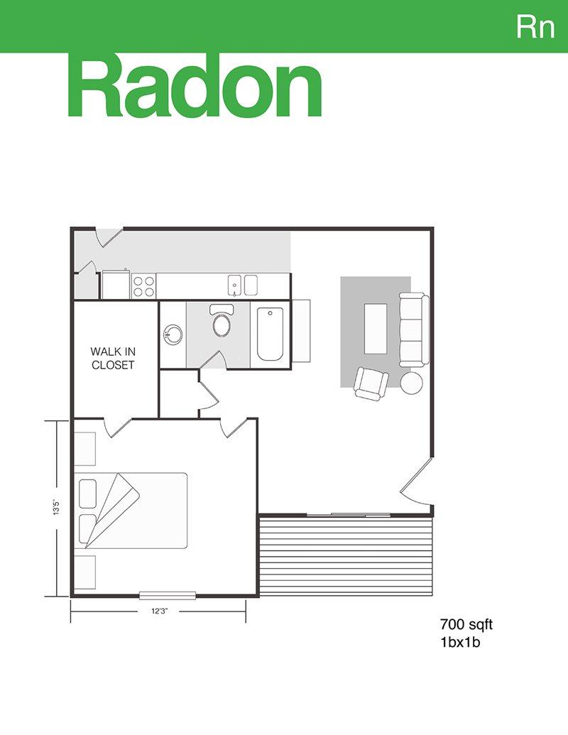 700 sq. ft. Radon floor plan