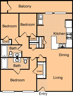 1,213 sq. ft. C2/60% floor plan