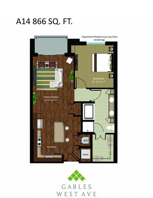 866 sq. ft. DA14 floor plan