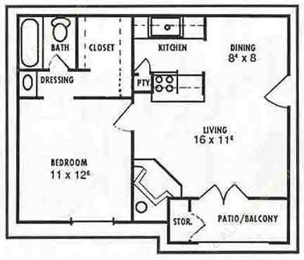 608 sq. ft. Lilac floor plan