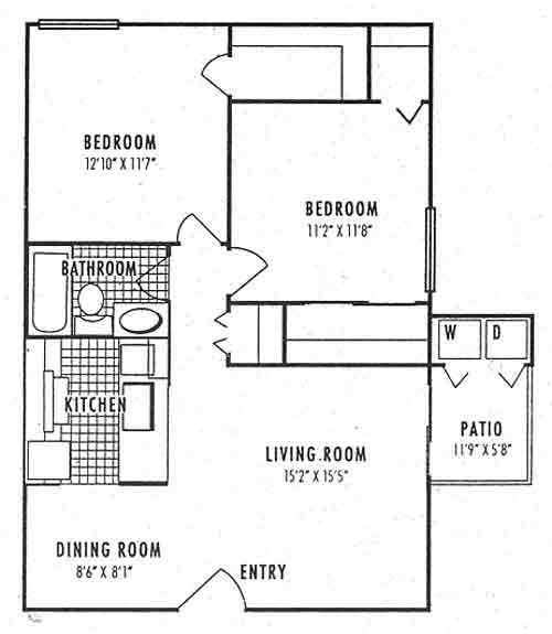 864 sq. ft. 1B floor plan