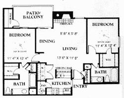 917 sq. ft. B2 50% floor plan