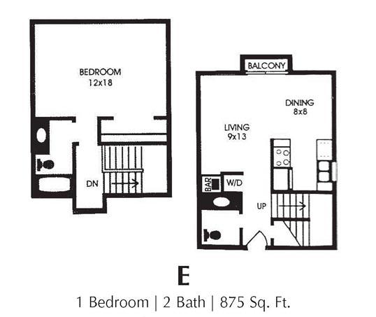 875 sq. ft. E floor plan