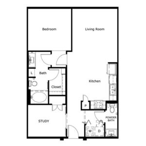 908 sq. ft. floor plan