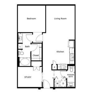 908 sq. ft. floor plan
