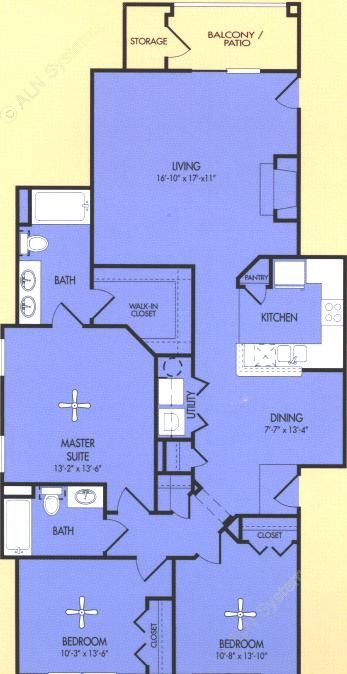 1,372 sq. ft. C2 floor plan