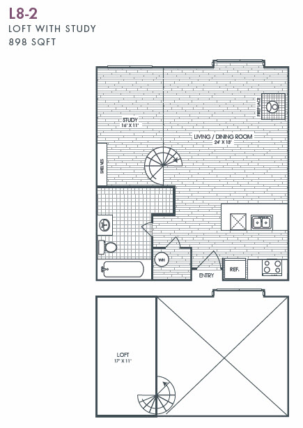 898 sq. ft. L8-2 floor plan