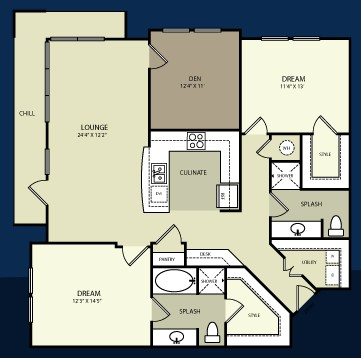 1,268 sq. ft. B3 floor plan
