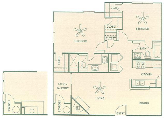 1,012 sq. ft. 1G floor plan